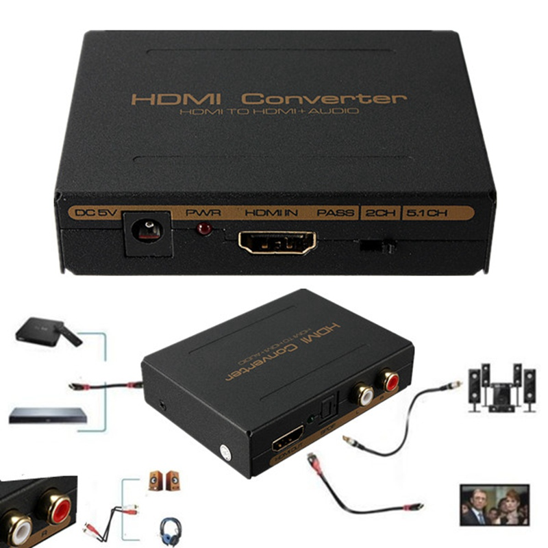 Best Price HDMI to HDMI Optical SPDIF Suppport 5.1 + RCA L/R Audio Video Extractor Converter Splitter Adapter(China (Mainland))