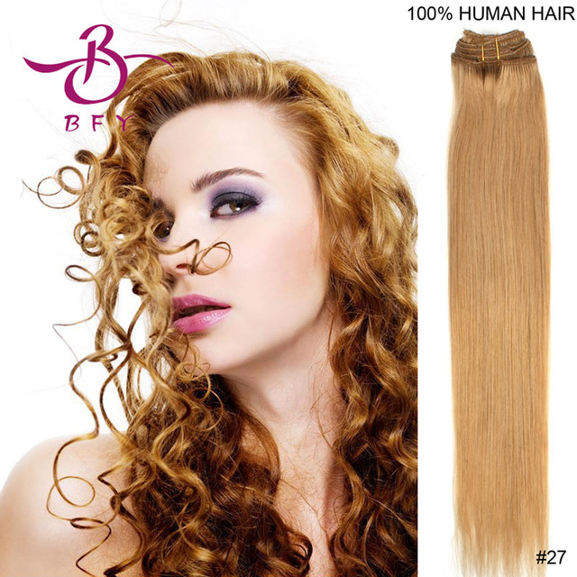 18inch/20inch/22inch/24inch Synthetic Hair with clips in Kanekalon high temperature fiber hair extension #27 Dark blonde 100gram