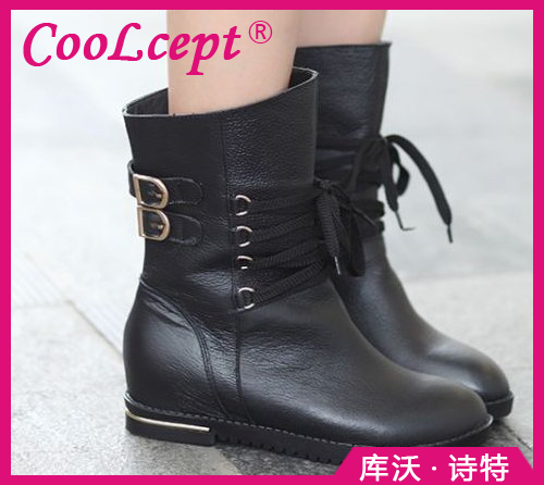 CooLcept Free shipping ankle half short natural real genuine leather boots women snow boot high heel shoes R4844 EUR size 34-39(China (Mainland))
