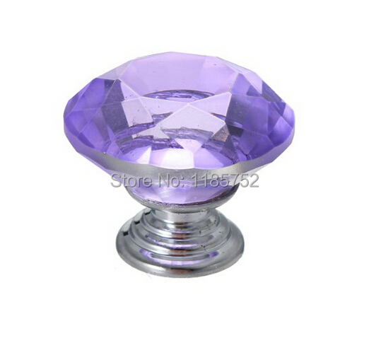 New 10PCS/LOT 30mm Purple Glass Crystal Cabinet Pull Drawer Handles For Furniture Glass Drawer Pulls Kitchen Door(China (Mainland))