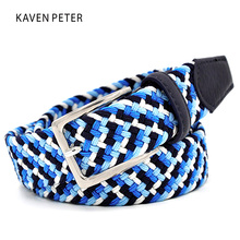 Buy Italian Design Mens Leather Braided Elastic Stretch Cross Buckle Casual Golf Belt Waistband Four Color Elastic Mixed Braided for $8.35 in AliExpress store