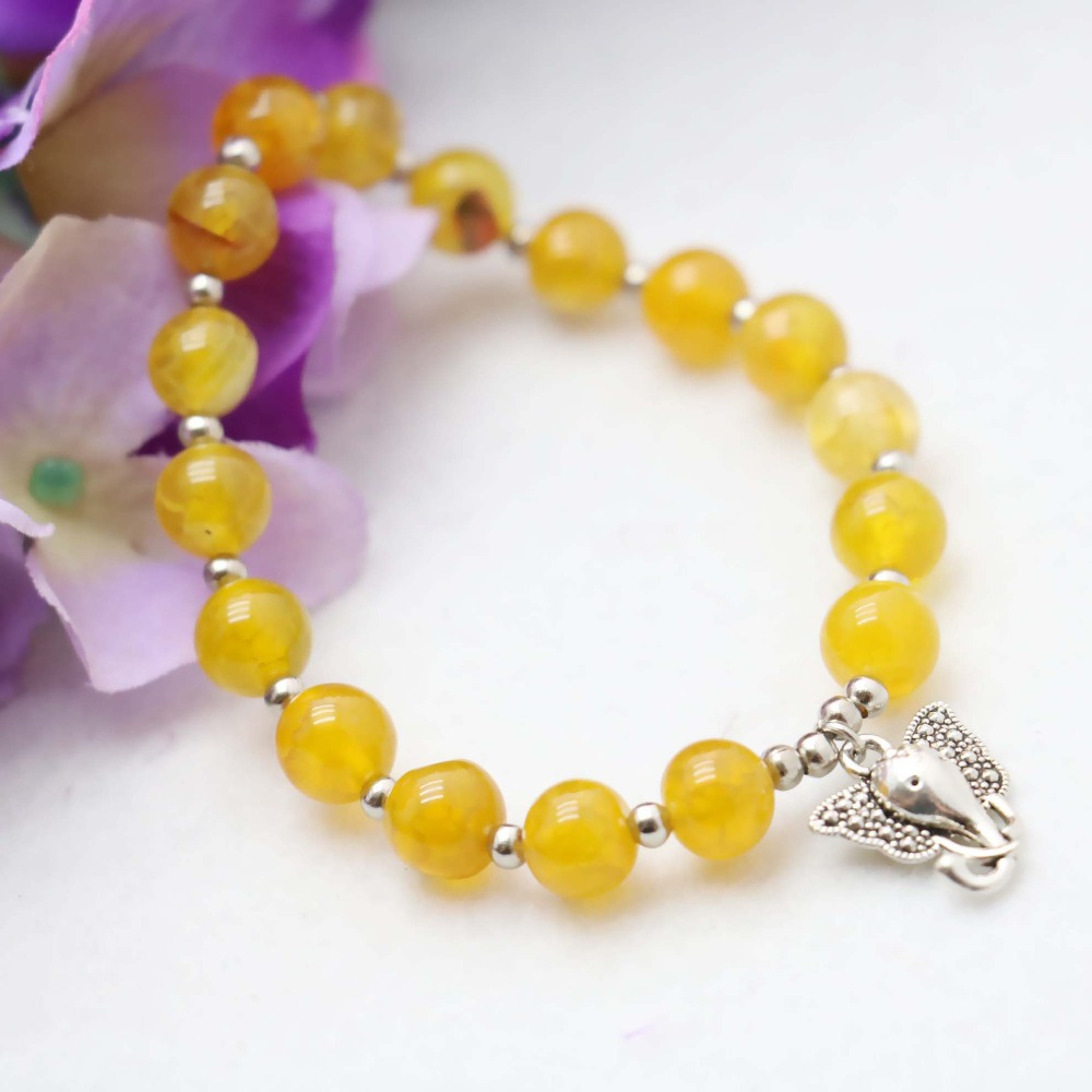 8mm Natural stone Ethnic style Yellow Agate beads Chalcedony Bracelet hand chain for women girls Pendant Elephant Jewelry(China (Mainland))
