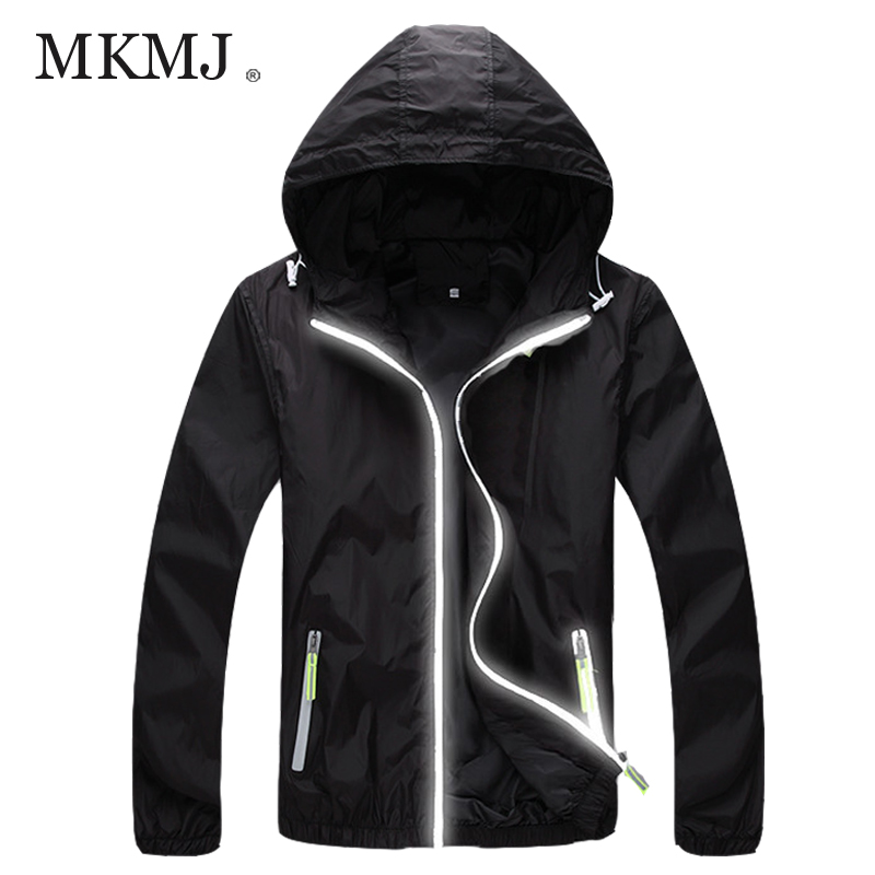MKMJ Black Jacket Men Women Thin Zipper Reflective Sport Outdoor Waterproof Men's Windbreaker Coat Veste Homme - Flagship Shop store