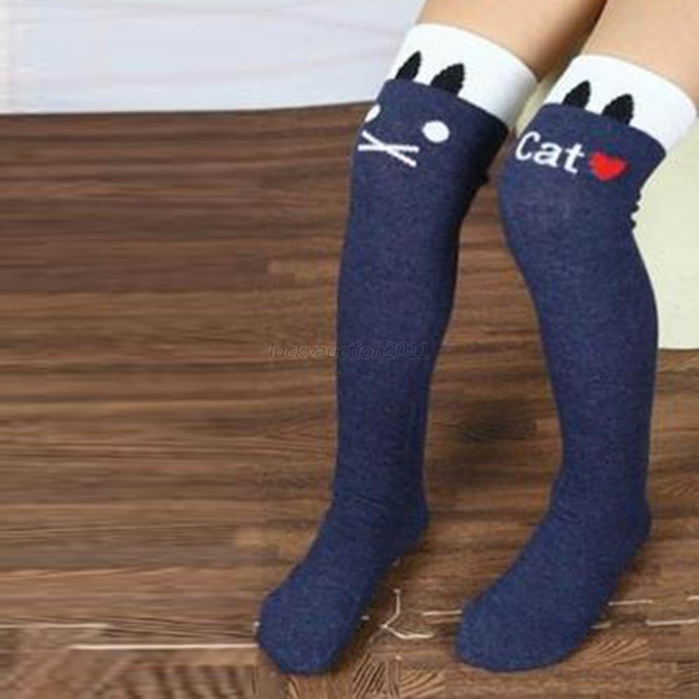 Wholesale Stirp Lovely Fashion Baby Children Kids Girl's Letter Cat Black Leg Warmers Stockings 7 Colors(China (Mainland))