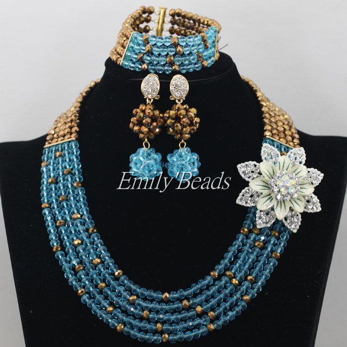 nigerian sky blue costume beads jewelry set fashionable