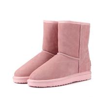 MBR KRAFT Klassischen Echtem rindsleder schnee stiefel 100% Wolle Frauen Stiefel Warme winter schuhe für frauen große größe 34 -44(China)