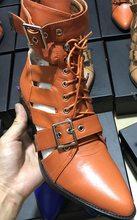 Prova Perfetto Marka Tasarım Yılan Cilt Hakiki Deri Çizmeler Kadın Sivri Burun Yüksek Topuklu yarım çizmeler Toka Lace Up Kadın Botları(China)
