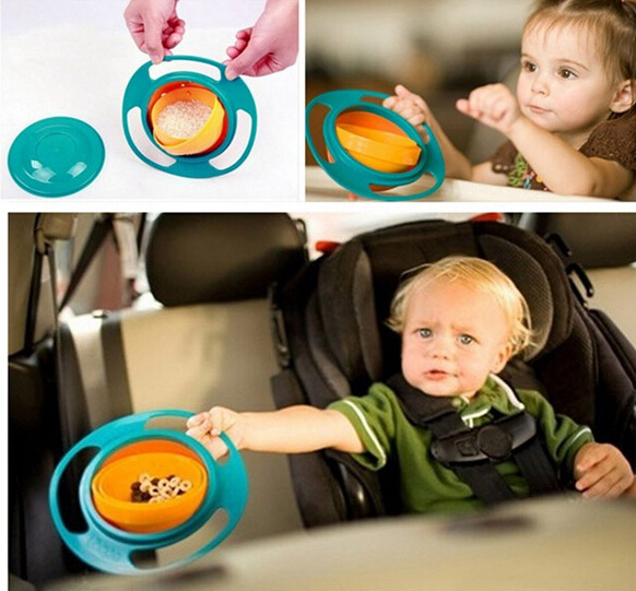 Baby Kids Bowl 360 Rotate Spill-Proof Bowl Dishes+Lid New(China (Mainland))