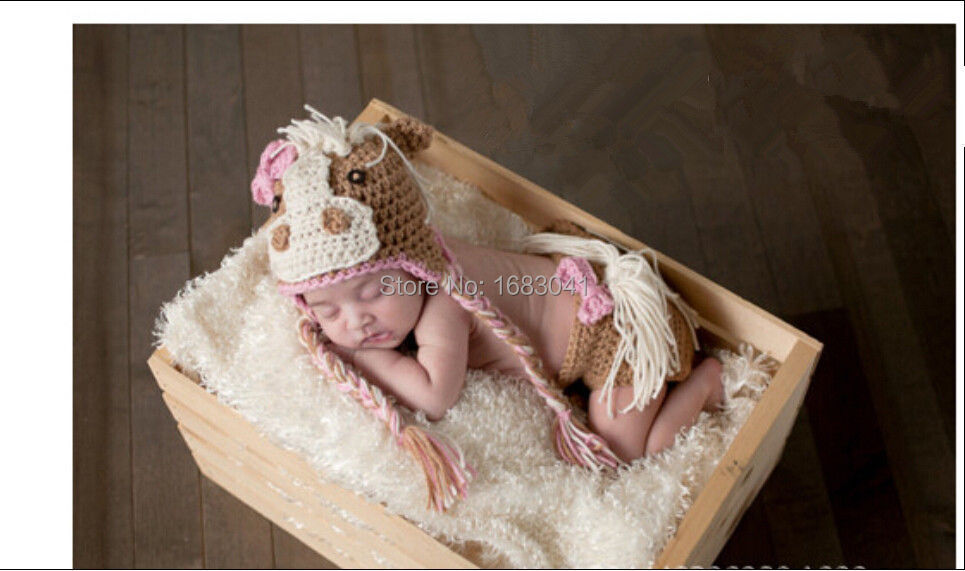 NEW Crochet Baby Newborn Knitted Photography Hat + pants 3-6M#035(China (Mainland))
