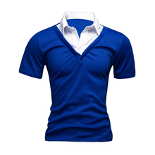2016 New Fashion Spliced Sports Polo Slim Fit Cotton Men Clothes Fake Two Male Polo Shirt Short Sleeve Summer topsMXC0280