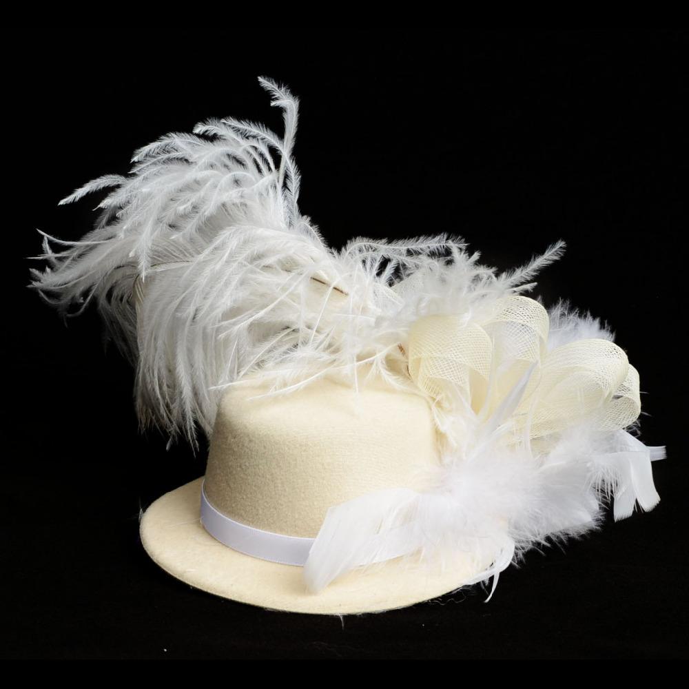 Cream Feather Mini Top Hat Organza Mesh Hair Clip Fascinator Wedding Bridal Party Wedding Brides Hair Accessories(China (Mainland))