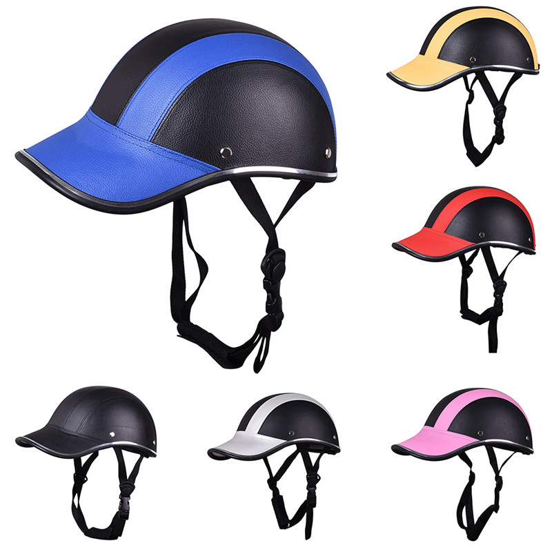 Motorcycle Half Face Helmet Half Open Face Bike Cycling Helmet Protective ABS Leather Baseball Cap Motor Unisex 5 Colors CP375(China (Mainland))