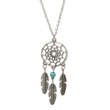 Bohemian Retro Silver Plated Dreamcatcher Feather Turquoise Pendants Necklace for Women Choker Statement Necklace Accessories