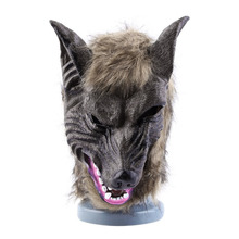 Adults and Children Latex Animal Wolf Head With Hair Mask Fancy Dress Costume Party Scary Halloween with Grey Color cute(China (Mainland))