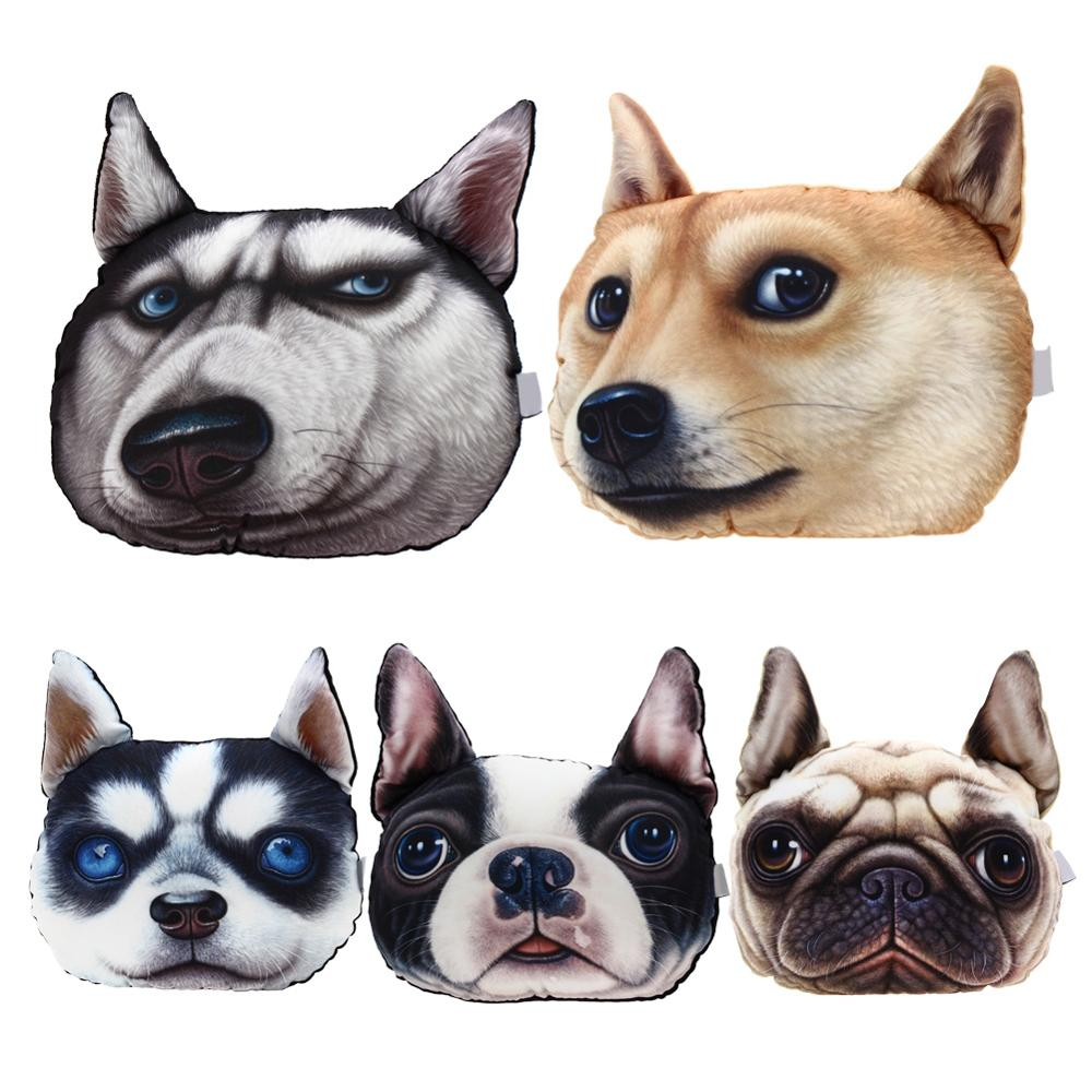 3D Printed Dog face Car Headrest Pillow 2016 New Arrival Activated Carbon Seat Cushion Supplies Neck Auto Safety Pillow(China (Mainland))