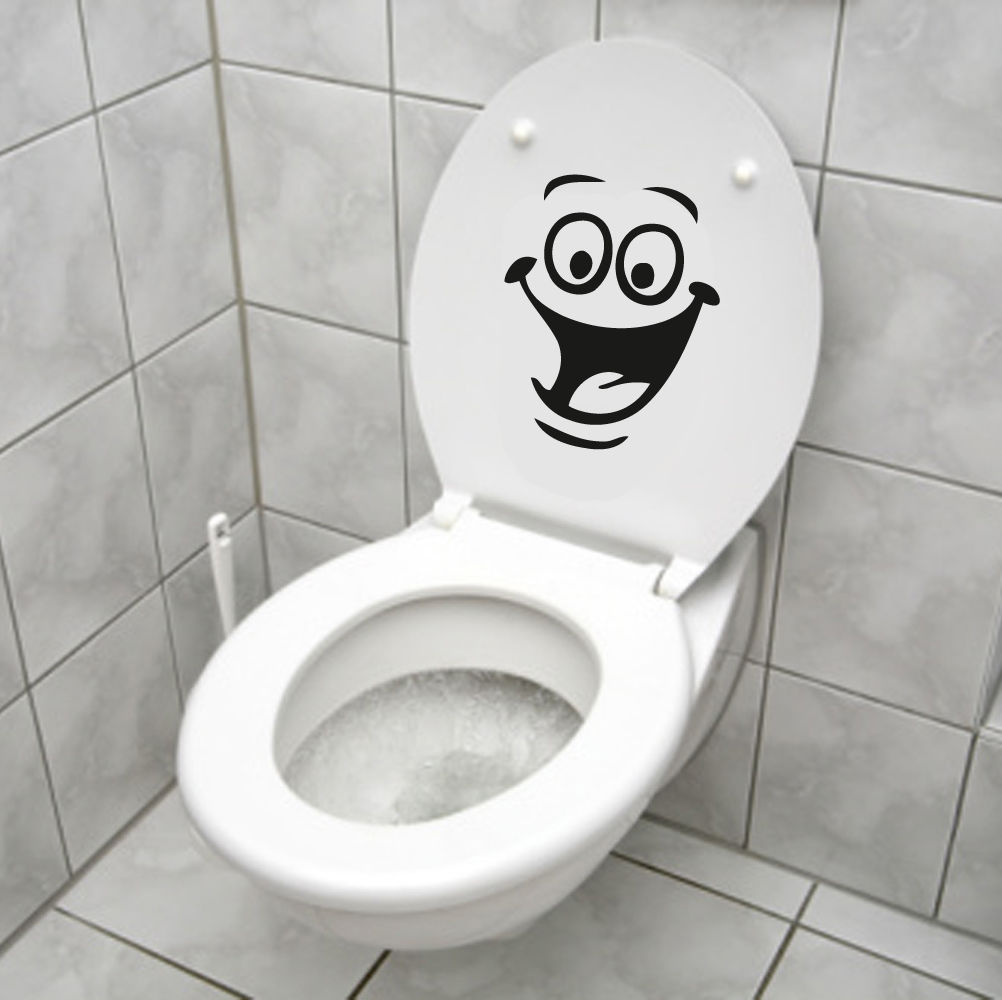 D505 Smiley Face WC Toilet Decal Wall Mural Art Decor Funny Bathroom Sticker Vinyl(China (Mainland))