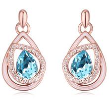 Buy Auatria Blue Crystal Teardrop Dangle Earrings Ethnic Earrings Vintage Jewelry Gift Women 3 Colors Wedding Bijoux Accessories for $12.59 in AliExpress store