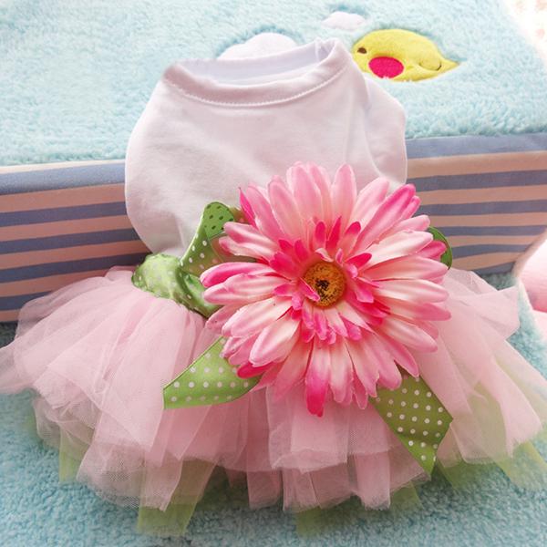 Factory Wholesale Pet Clothing Dog Dress Pet Clothes Spring And Summer Petals Trade Brand Tutu DressWX(China (Mainland))