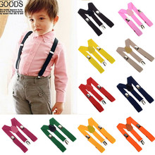 Free Shipping 2014 Unisex Kids Boy Girls Clip-on Suspenders with Adjustable Elastic Braces Children Apparel Accessories 6colors
