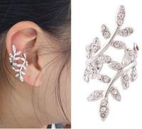 New Punk Rock Earrings Rhinestone Leaves Earrings Gold Silver Ear Cuff No Pierced Earcuff Pendientes Plant Clip Earrings
