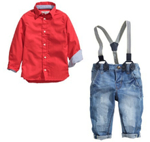 new children boys clothing sets cotton baby boys suit long-sleeved red shirt+spaghetti strap bib jeans kids boys clothes,CT-175(China (Mainland))