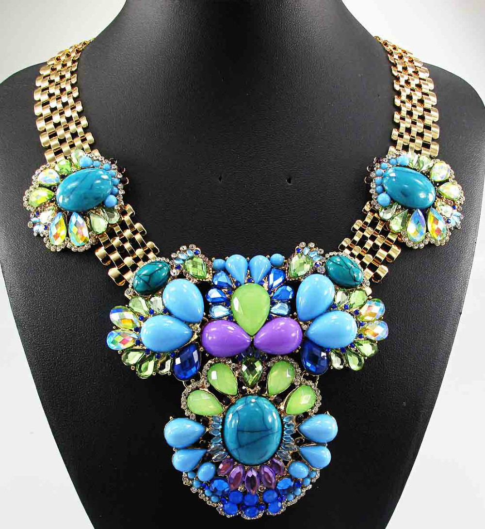 Newest Gorgeous Fashion Necklace Jewelry crystal ra Department Statement Necklace Women Choker Necklaces Pendants Q855(China (Mainland))
