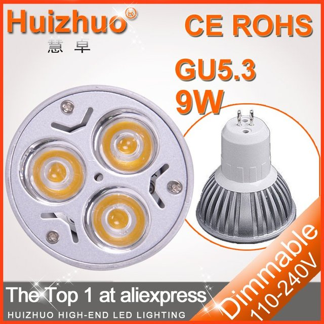 [Huizhuo Lighitng] Free shipping 20 pcs/lot High power 3x3W 220V GU5.3 led bulb, spotlight bulb