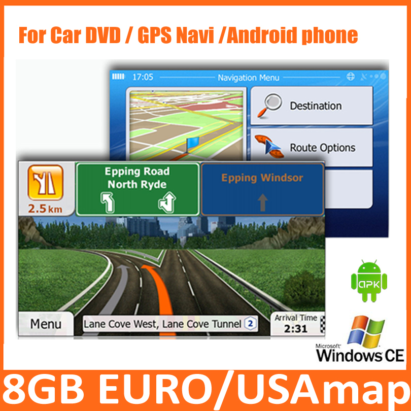 8GB Micro SD Card Car GPS 2016 Map software with europe,USA,italy,canada,france, UK,netherland,spain/isreal(China (Mainland))
