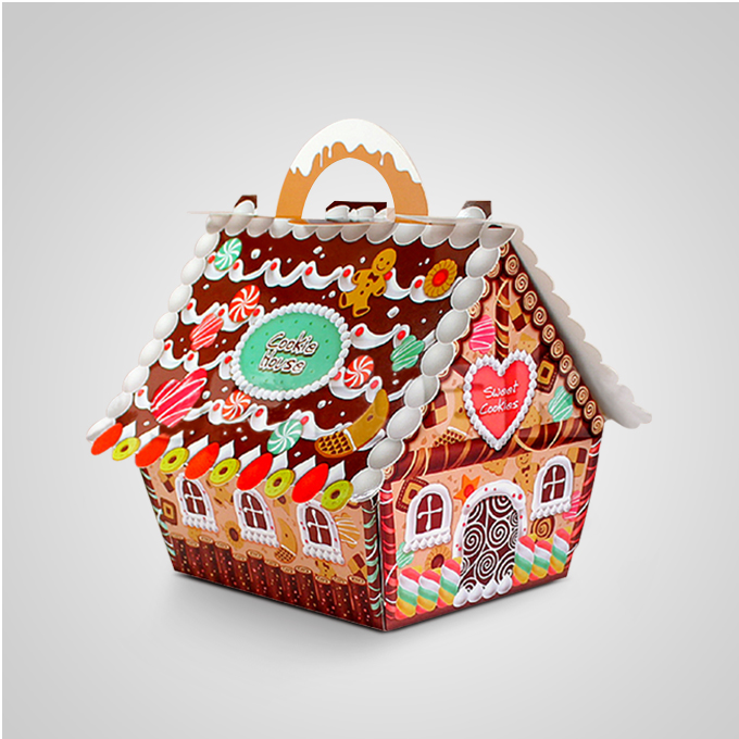 50pcs Small house candy boxes Christmas tree packaging gift box of biscuits chocolate wedding/ Christmas/children's Day box(China (Mainland))