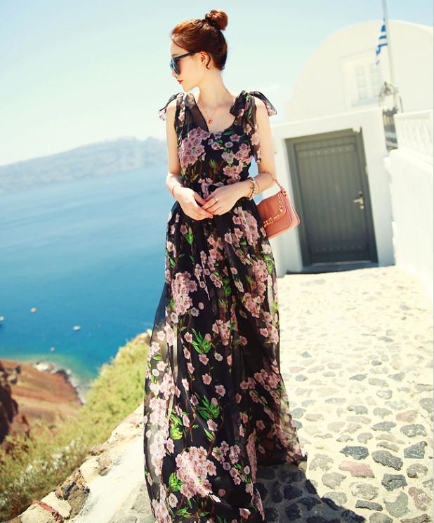 Fashion Show Flower Print Double V Neck Sleeveless