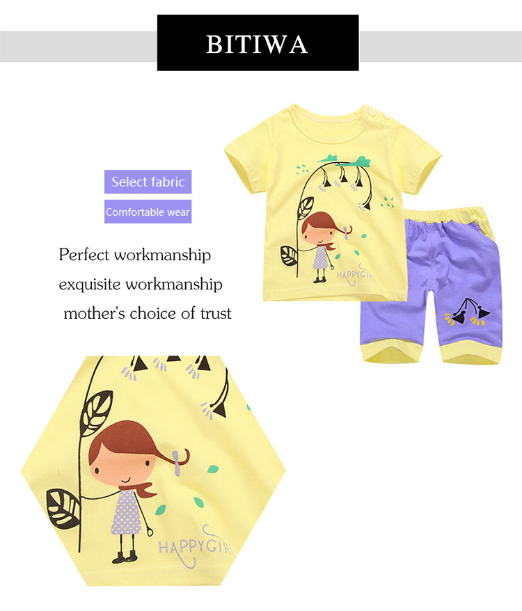 Baby boy clothes 2017 new cartoon casual cotton baby girls summer clothing kids sets 2pieces(shirt+pants) clothes suits hot sale