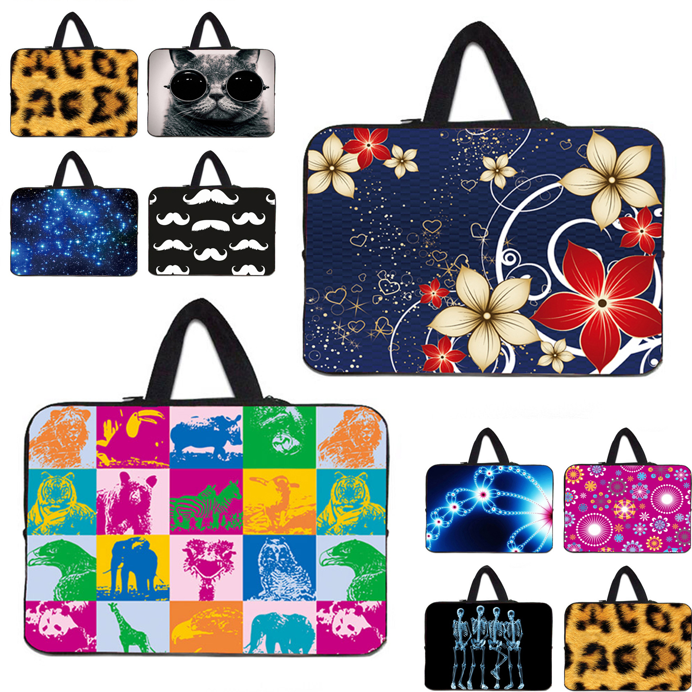 Personilty Design Soft 7 10 12 13 14 15 17 inch Laptop Sleeve Bag Zipper Neoprene Carry Cases For Acer Aspire One 11 13 15 Dell(China (Mainland))