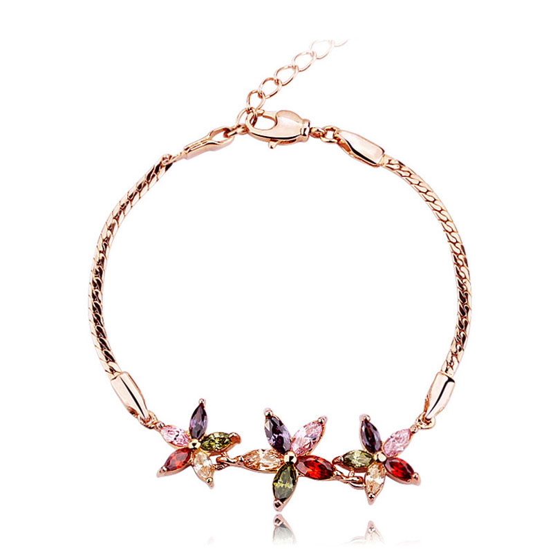 Chain Link Bracelet Rose Gold Plated Women Gorgeous Bangle Bracelet Rainbow Color Crystal Jewelry Female Banquet Party Bracelet(China (Mainland))