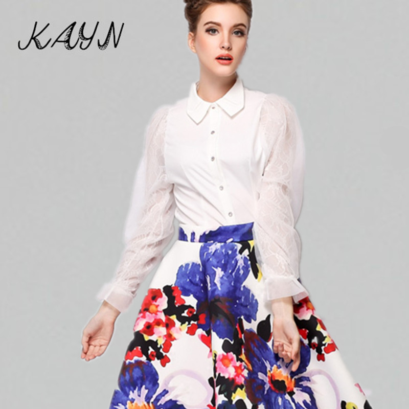 2016 Spring Autumn Women Shirts Blouses Elegant Ladies Office Lace Patchwork Puff Long Sleeve Shirt Casual Tops - KAYN Boutique Clothing store