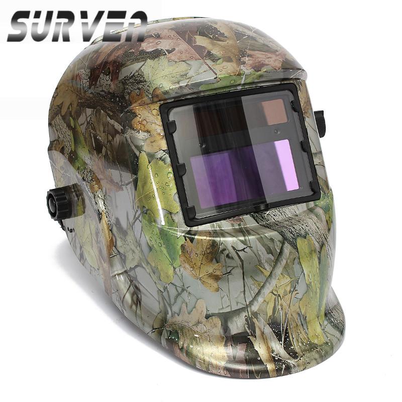 SURVEN Newest !! Best Selling Forest Camouflage Solar Auto Darkening Welding Helmet ARC TIG MIG Weld Lens Grinding Mask(China (Mainland))