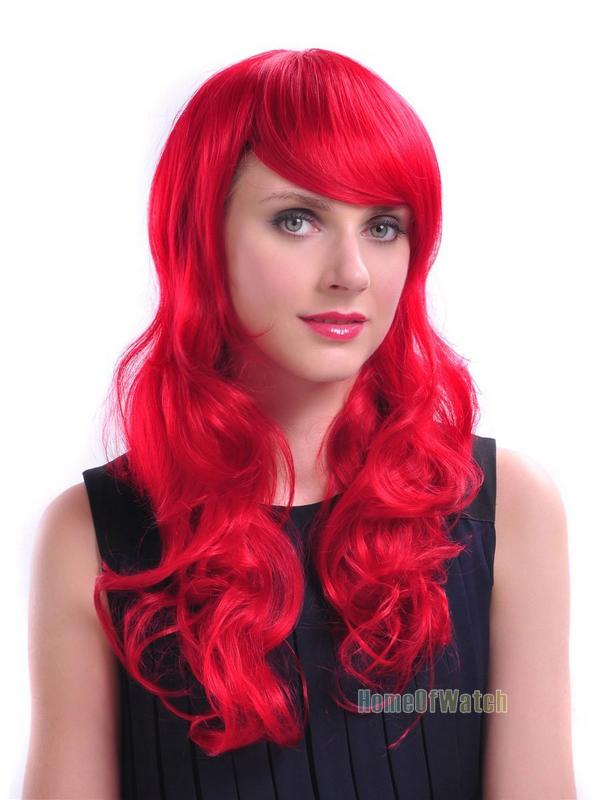 24 Inch 60cm Long Curly Stunning Red Lady Women wig Fashion Cosplay party hair Wigs (NWG0CP60820-RE2)(China (Mainland))