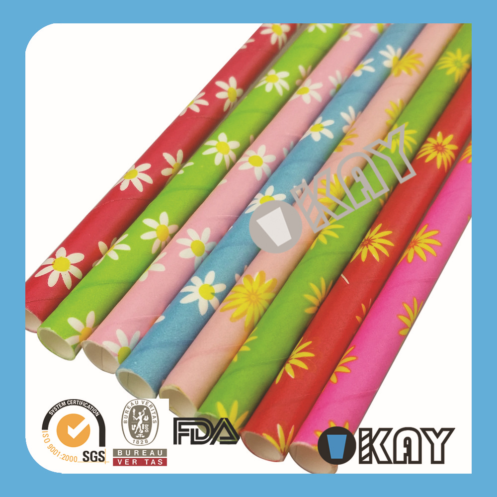 Free Shipping Cheap Paper Straws WeddingTea Party Straws Daisy Paper Straws Eco paper StrawsRecycled 1000PCS(China (Mainland))