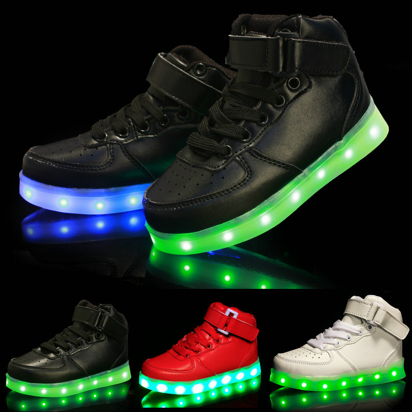 2016 New Fashion High-top Kids LED Luminous Sneakers USB Rechargeable Boys Sports Shoes Hot Girls Colorful Flashing Lights Shoe(China (Mainland))