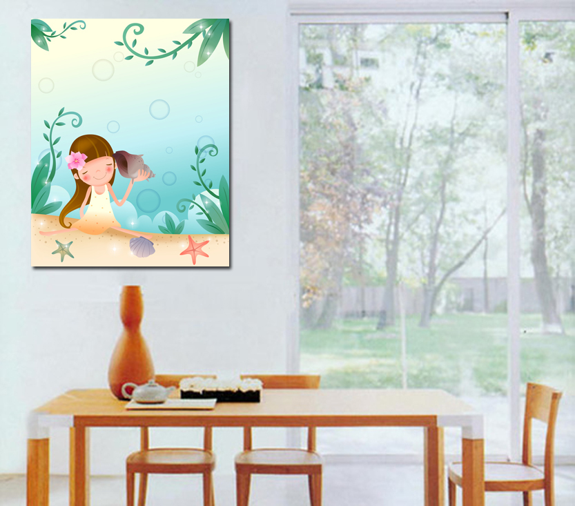 beach canvas painting children art for kids blues one piece wall scroll fashion home decoration. Black Bedroom Furniture Sets. Home Design Ideas