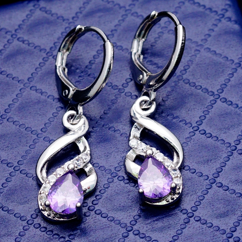 2015 New Jewelry Unique design Purple Zircon Stones Real Gold Filled Small Drop Earrings Women/Girl H0111 - Yunkingdom---Top Fashion store