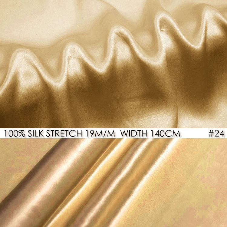 SILK STRETCH SATIN 140cm width 19mommePure Silk Fabric Satin+Spandex Fashion Fabric Chinese Silk Wedding Fabric NO24Light Golden(China (Mainland))