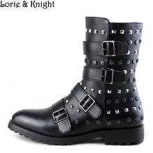 Mens Black Leather Buckle Straps Punk Rivet Rocker Mid-calf Boots Cowboy Martin Boots Mortorcycle Boots