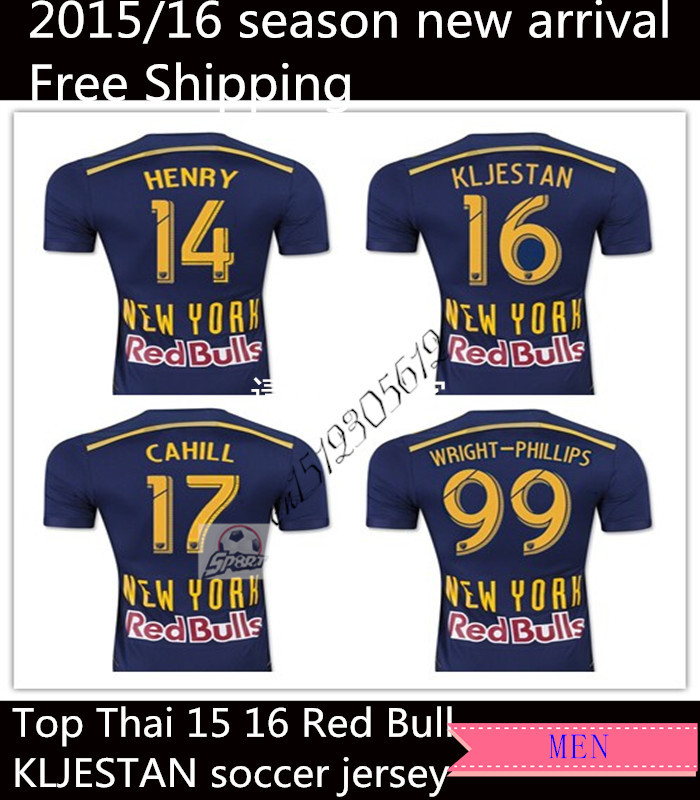 Free Shipping tops 2015 Red New York Soccer Jersey Bulls 15 16 Away Blue WRIGHT PHILLIPS KLJESTAN thailand soccer jersey(China (Mainland))