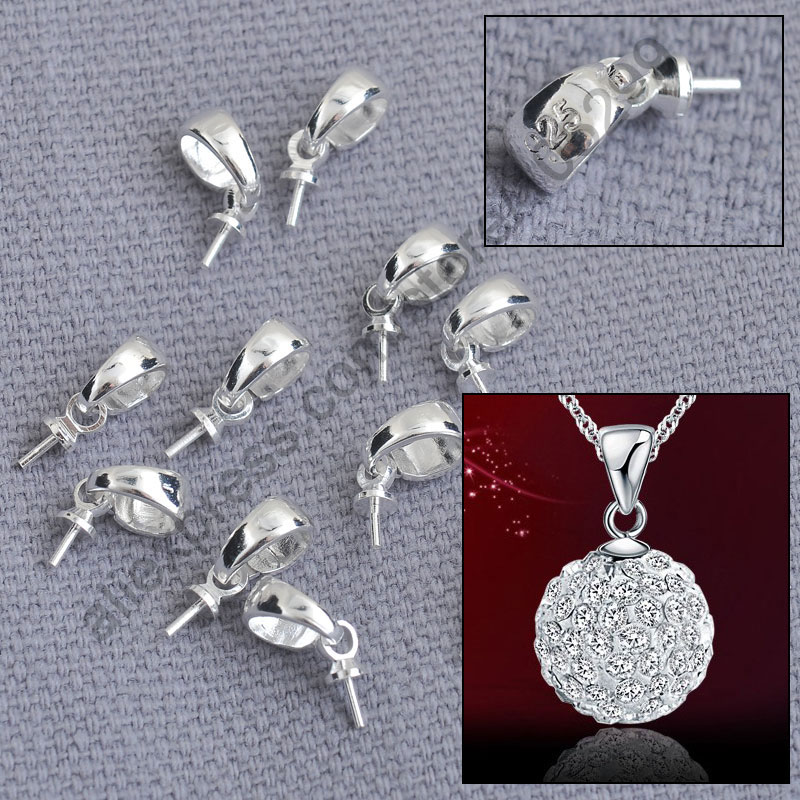 Wholesale 200PCS 925 Jewellery Findings Genuine Pure 925 Sterling Silver Cup Cap Bail Connector For Pendant Necklace(China (Mainland))