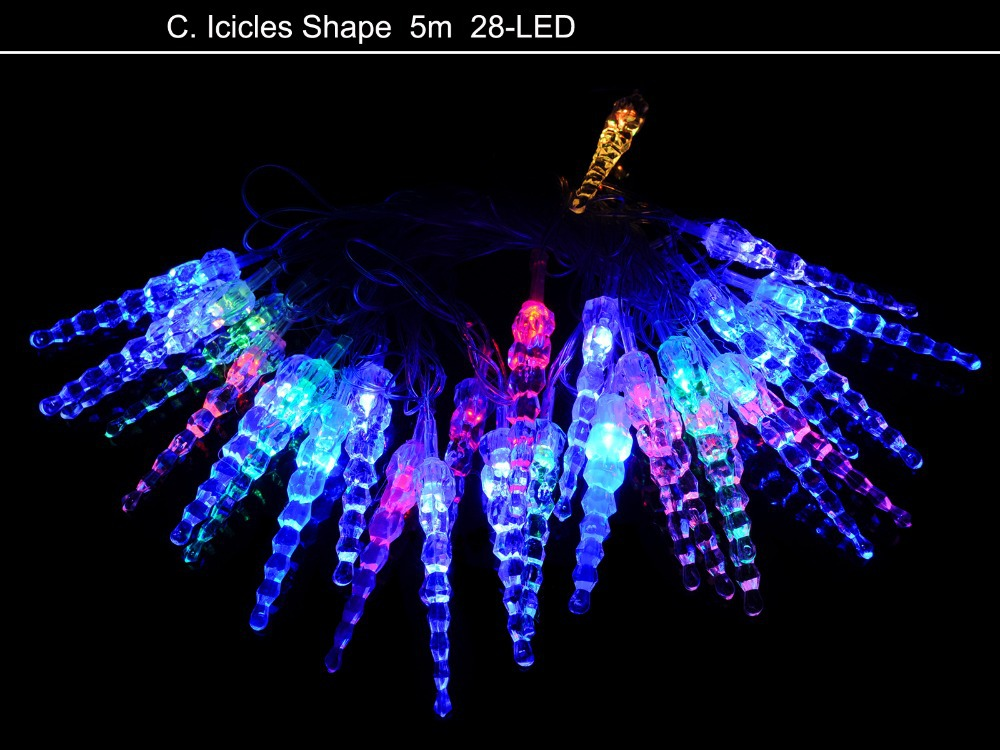 110 240V 5m 28 LED Icicles Shape String Light Festival Lamp for Xmas Christmas Halloween Garden ...
