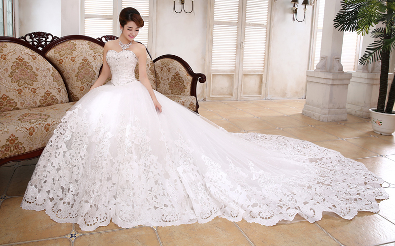Ball Gown Wedding Dresses With Train : Ball gown train wedding dresses bridal sweetheart fashionable