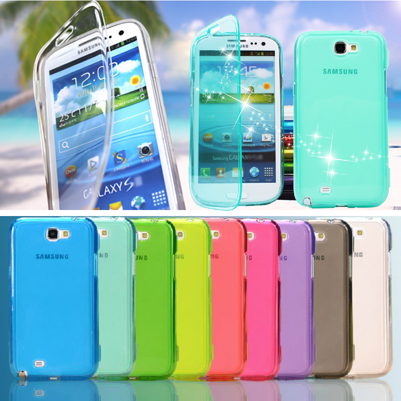 Dirt/shock Proof High Quaility Clear Transparent Protective Soft TPU Gel Flip Case Cover for Samsung Galaxy Note 2 II N7100(China (Mainland))
