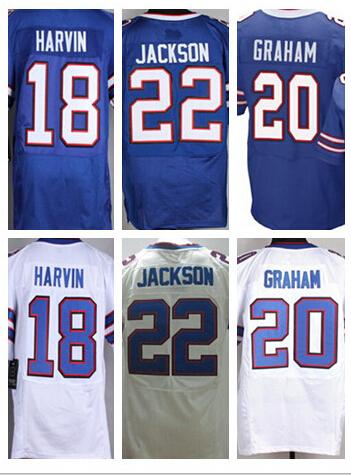 Stitched cheap football elite jersey,Men's #18 Percy Harvin,20 Corey Graham,22 Fred Jackson NEW blue,white elite Jerseys M-4XL(China (Mainland))