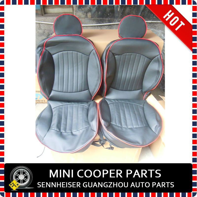 brand new imported pu material red brim black color jcw style seat cover for 4 seats mini cooper. Black Bedroom Furniture Sets. Home Design Ideas