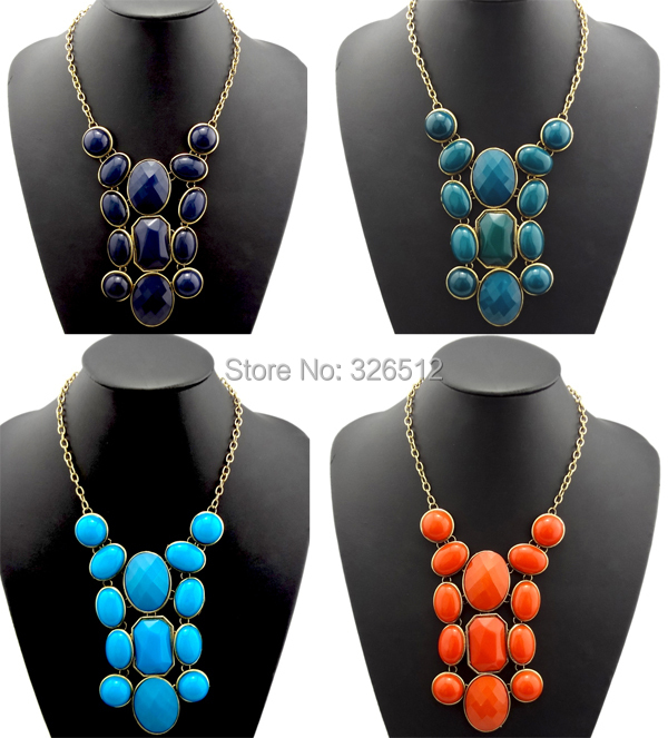 Exaggerated gold plated geometric resin gem stone big choker necklaces&amp;pendants statement necklace costume jewelry for women<br><br>Aliexpress